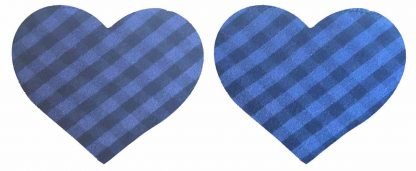 Pair of Iron on Heart Shape Mini Elbow or Knee Patches in Blue and Black Gingham pure cotton fabric