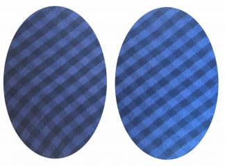 Pair of Iron on Oval Shape Elbow or Knee Patches in Blue and Black Gingham pure cotton fabric
