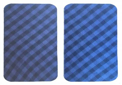 Pair of Iron on Rectangle Shape Elbow or Knee Patches in Blue and Black Gingham pure cotton fabric