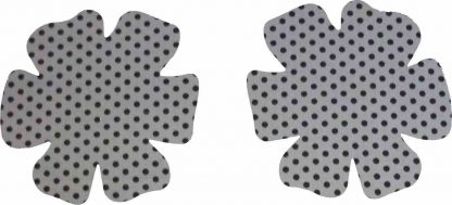 Pair of Iron on Flower Shape Child Elbow or Knee Patches in Grey Black Polkadot Spot pure cotton fabric