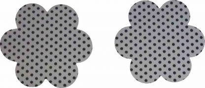 Pair of Iron on Flower Shape Mini Elbow or Knee Patches in Grey Black Polkadot Spot pure cotton fabric