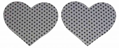 Pair of Iron on Heart Shape Mini Elbow or Knee Patches in Grey Black Polkadot Spot pure cotton fabric