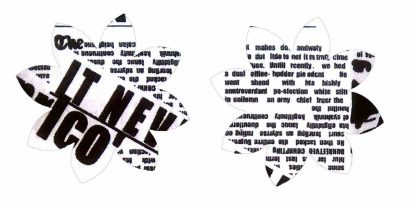 Pair of Iron on Flower Shape Adult Elbow or Knee Patches in Black and White Newsprint pure cotton fabric