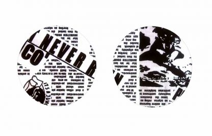Pair of Iron on Circle Shape Elbow or Knee Patches in Black and White Newsprint pure cotton fabric