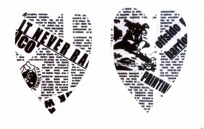 Pair of Iron on Heart Shape Elbow or Knee Patches in Black and White Newsprint pure cotton fabric