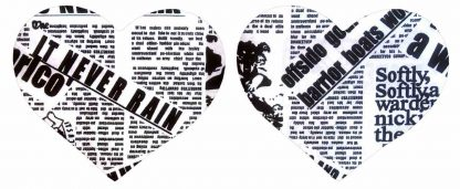 Pair of Iron on Heart Shape Mini Elbow or Knee Patches in Black and White Newsprint pure cotton fabric