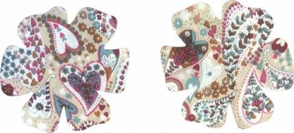 Pair of Iron On Flower Shape Child Elbow and Knee patches in Beige Multi Heart Print pure cotton fabric