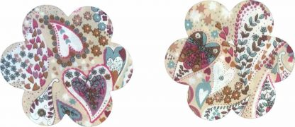 Pair of Iron On Flower Shape Mini Elbow and Knee patches in Beige Multi Heart Print pure cotton fabric