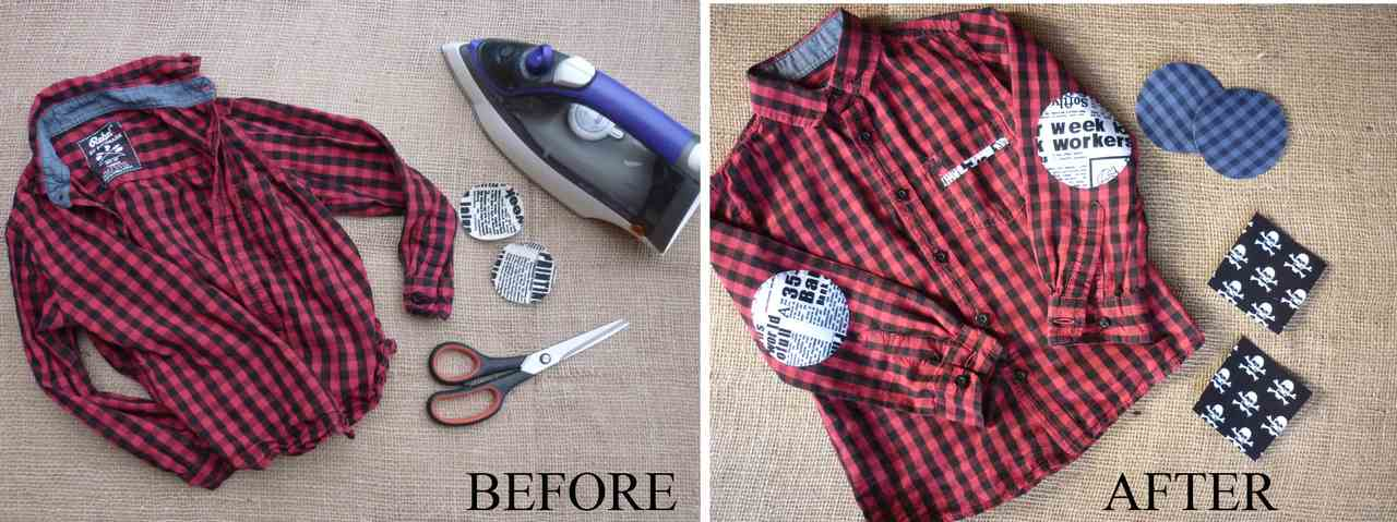 Vintage-Patch Red Check Shirt Valentines Refashion Before and After