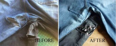 Before and After of blue and black denim jeans with tears repaired with iron on reverse repair patches by vintage-patch.co.uk in floral and denim designs