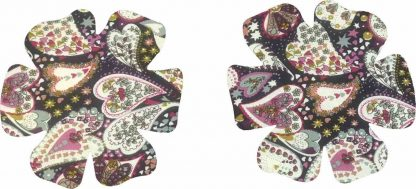Pair of Iron On Flower Shape Child Elbow and Knee patches in Blue Multi Heart Print pure cotton fabric