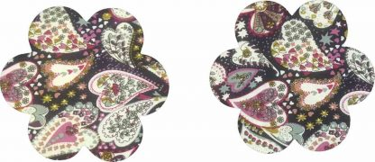 Pair of Iron On Flower Shape Mini Elbow and Knee patches in Blue Multi Heart Print pure cotton fabric