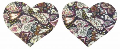 Pair of Iron On Heart Shape Mini Elbow and Knee patches in Blue Multi Heart Print pure cotton fabric