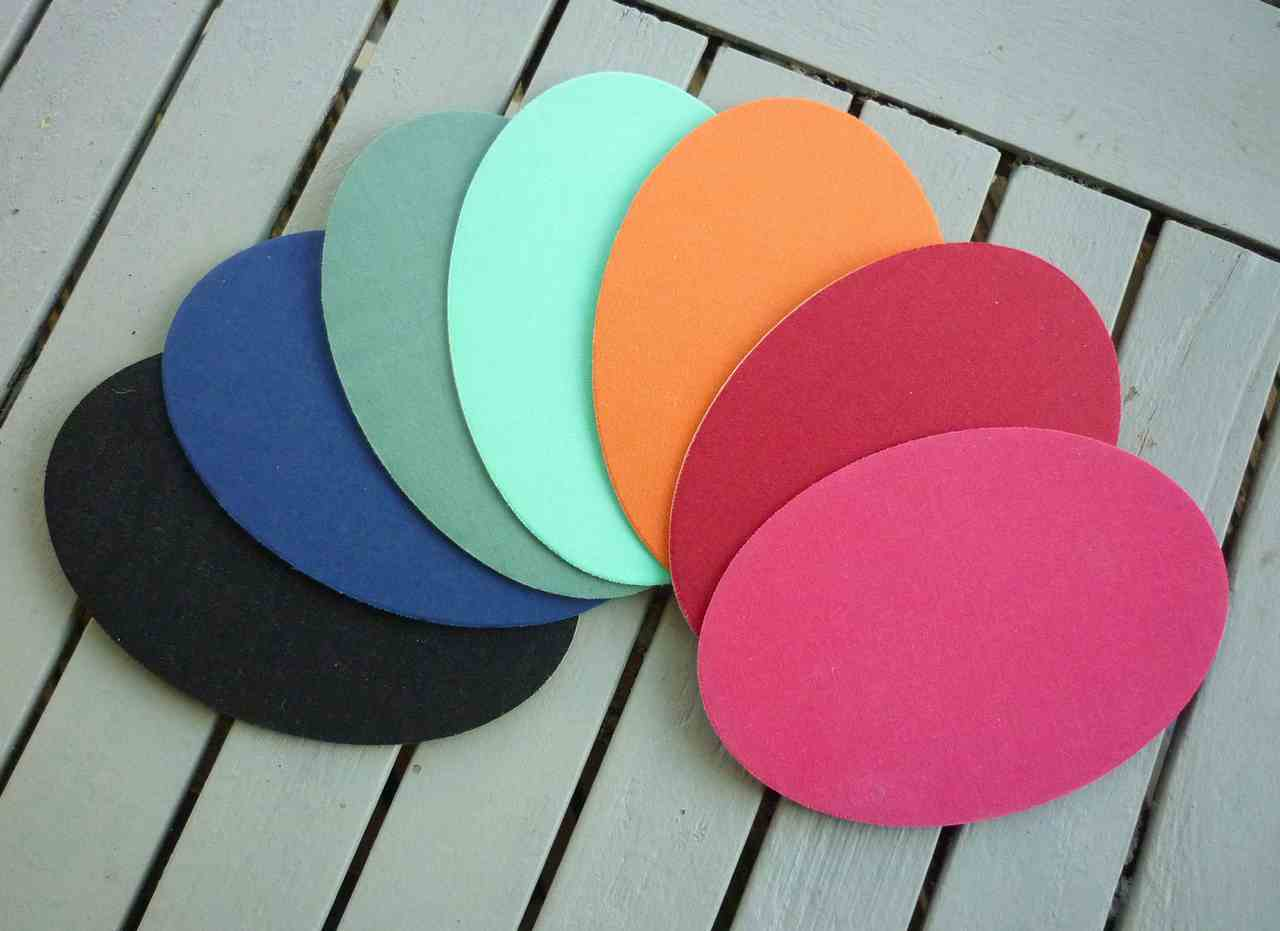 fan display of coloured elbow patches